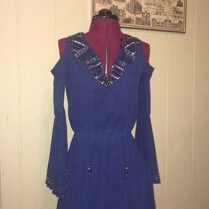 Boston Proper Cold Shoulder Bell Sleeve Dress